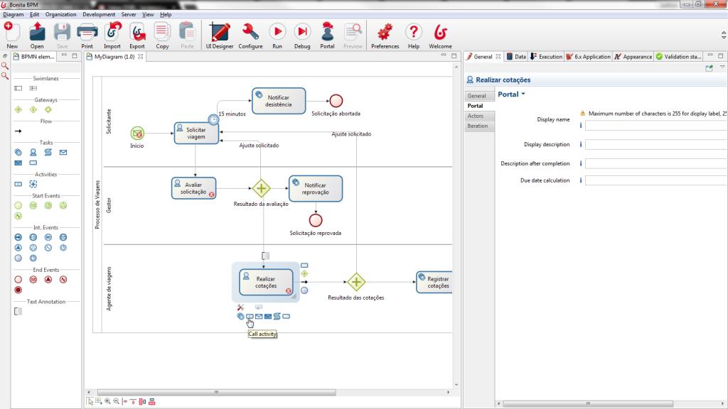 Modelador de processos do Bonita BPM