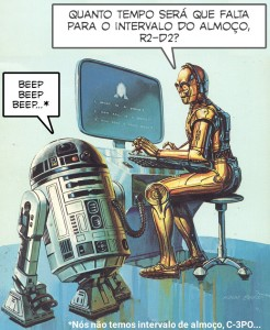 "Baseado na ilustração de Ken Barr para a capa do livro ""Star Wars Question and Answer Book about Computers"" (1983)"